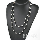 fashion long style white pearl and black crystal necklace