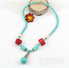 turquoise and coral necklace with lobster clasp under $ 40