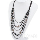 fashion crystal and balck agate necklace