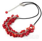 white pearl and red coral necklace with extendable chain under $ 40