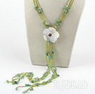 aventurine beaded necklace with sell flower