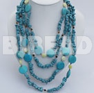 multi strand tiger eye turquoise and lemon jade necklace under $14