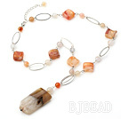 natural agate and loops beaded necklace with extendable chain