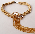 Golden Champagne Color Pearl Crystal Flower Tassel Necklace