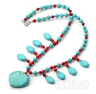 fashion turquoise and blood stone necklace
