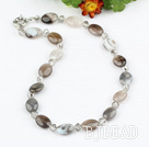 crystal and gray agate necklace with spring ring clasp
