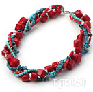 multi strand turquoise coral and crystal necklace under $30