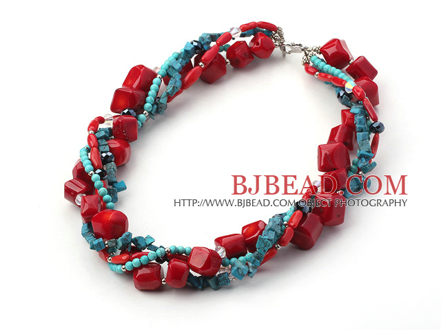 multi strand turquoise coral and crystal necklace