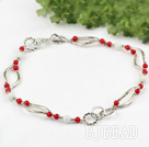 red coral and white sea shell necklace with flower shaped lobster clasp