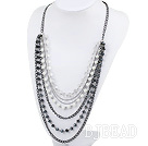 multi strand acrylic pearl and crystal necklace under $7