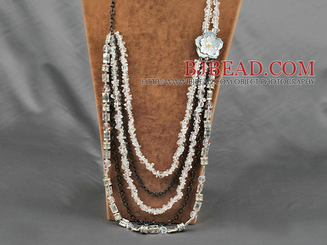 crystal and shell flower metal chain necklace