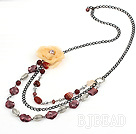 colored glaze and agate necklace with flower under $ 40