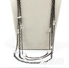 white crystal necklace with metal chains under $ 40