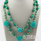 Long Style Xinjiang Turquoise and Crystal Flower Necklace