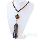 Fashion Style Tiger Eye Y Shape Tassel Necklace with Tiger Eye Donut