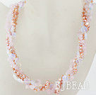 Multi Strands Pink Freshwater Pearl and Rose Quartz and Opal Necklace