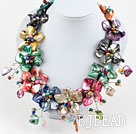Assorted Multi Color Freshwater Pearl and Shell Flower Party Necklace under $ 40