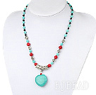black agate and alaqueca and turquoise heart necklace