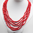 Five Strands Red Coral Collar Statement Necklace