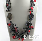 stunning red coral agate and blue sandstone necklace