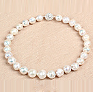 18 inches white 14mm sea shell beads necklace