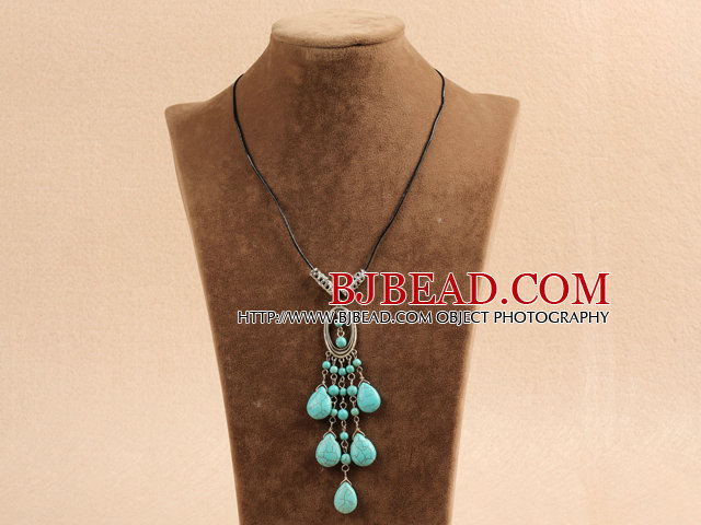 Simple Vintage Style Tear Drop Shape Blue Turquoise Tassel Pendant Necklace With Black Leather