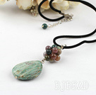 India agate pendant necklace with lobster clasp