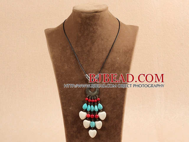 Simple Vintage Style Chandelier Shape Heart White Coral Tear Drop Shape Blue Turquoise Tassel Pendant Necklace With Black Leather