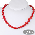 three strand coral necklace( Total 5 Pcs )