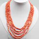 Five Strands Oange Pink Coral Collar Statement Necklace