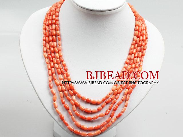 Five Strands Oange Pink Coral Collar Statement Necklace