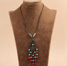 Simple Vintage Style Chandelier Shape Round Coral Turquoise Beads Tassel Pendant Necklace With Black Leather