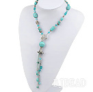 23.6 inches fashion long style turquoise pearl crystal y shape necklace