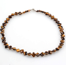 Rhombus Shape Tiger Eye Necklace with Lobster Necklace