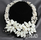 Elegant Style White Coral Chips and White Lip Shell and White Pearl Flower Party Necklace under $ 40