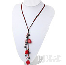 17.5 inches black pearl and red coral necklace