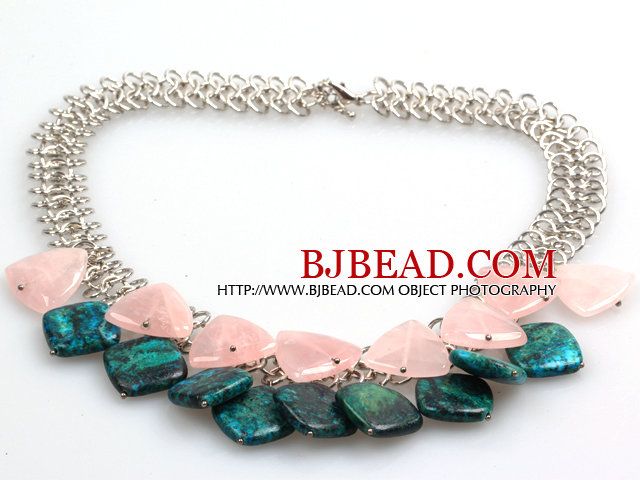 New Arrival Triangle Rose Quartz and Phoenix Stone Necklace with Metal Link Chain
