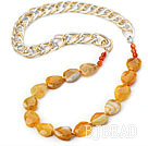 Yellow Color Burst Pattern Crystallized Agate Knotted Necklace with Golden and Silver Color Metal Chain ( The Chain Can Be Deducted )
