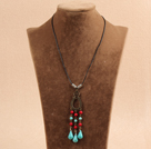Simple Vintage Style Round Coral Tear Drop Shape Turquoise Beads Tassel Pendant Necklace With Black Leather