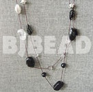 long style black agate and crystal necklace