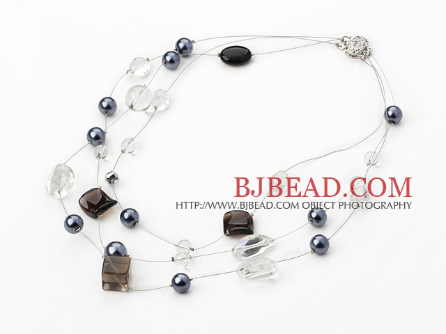 multi strand crystal and shell necklace