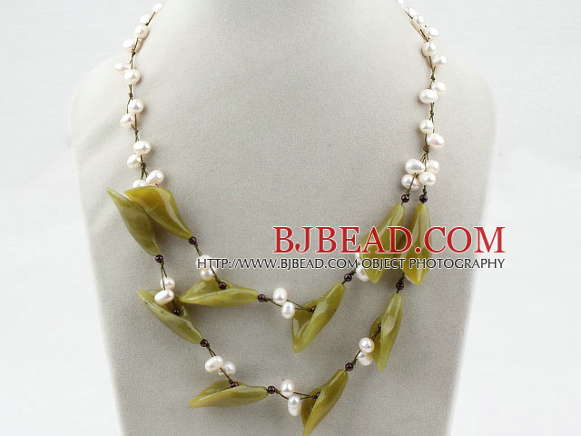 White Freshwater Pearl and Olive Flower Necklace