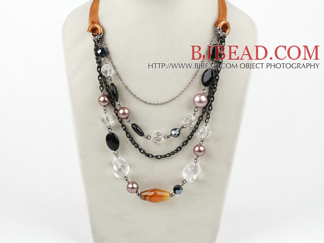 hot crystal agate and shell necklace