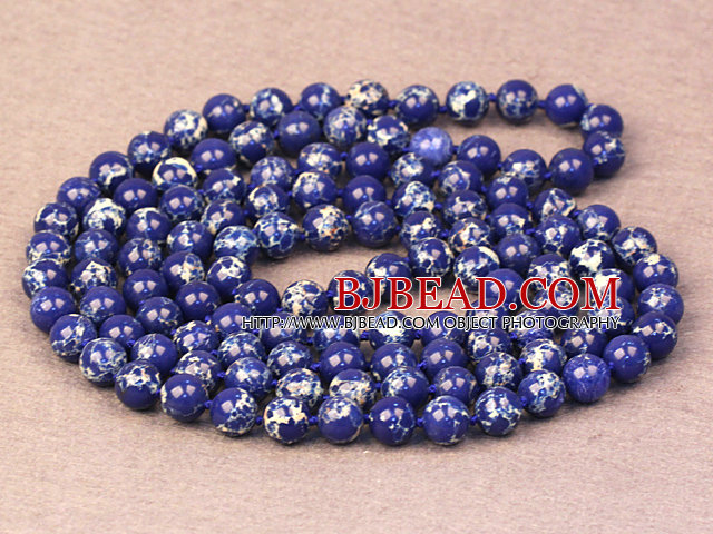 Noble Long Style Natural Deep Blue Imperial Jasper Stone Beads Necklace