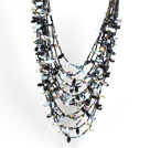 Gorgeous Multi Layer Black Series Natural Freshwater Pearl Crystal Party Necklace