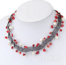 pearl and coral necklace under $ 40