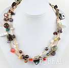 mixed color pearl multi-stone crystal necklace