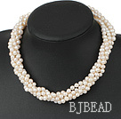 multi strand twisted white pearl necklace