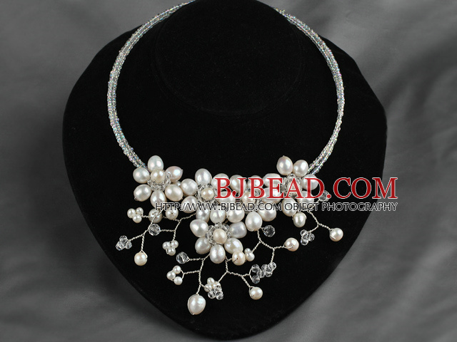 Natural White Freshwater Pearl and Clear Crystal Flower Bib Necklace