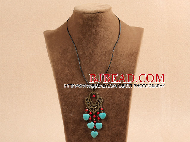 Simple Vintage Style Chandelier Shape Heart Turquoise Red Round Coral Beads Tassel Pendant Necklace With Black Leather